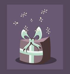 birthday gift box wrapped ribbon retro party vector image