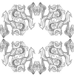 black and white ornamental lotus bohemian vector image