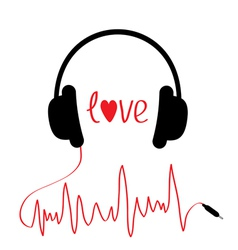 Black headphones with cord in shape of cardiogram vector image