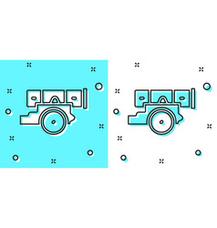 Black line cannon icon isolated on green and white vector