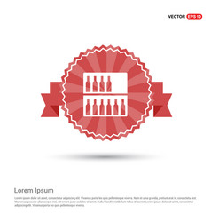 bottles on bar counter icon - red ribbon banner vector image