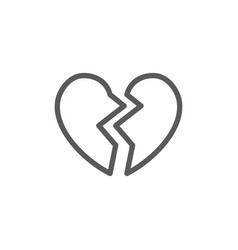 broken heart valentine day line icon vector image