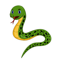 cartoon happy snake isolated on white background vector image