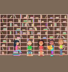 Children in library read books beside bookcase vector