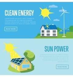 Clean energy and sun power vertical banners vector image