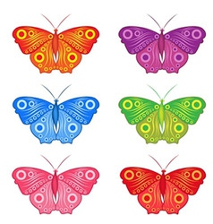 color set of colored butterflies vector image