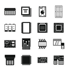 Computer chips icons set simple style vector