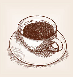 Cup of coffee sketch style old engraving vector