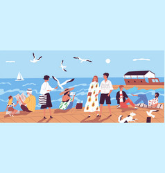 Cute happy people walking along quay or seafront vector