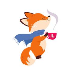 Cute little fox in scarf smelling hot winter drink vector