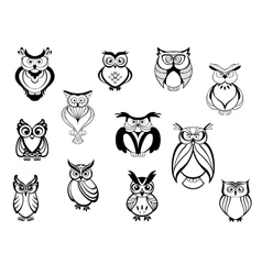 Cute owls and owlets vector