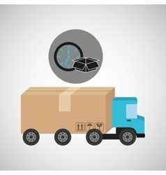 delivery truck concept box and clock icon vector image