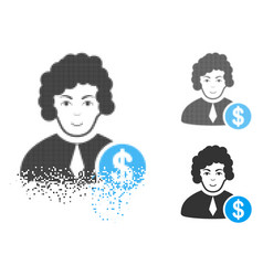 Disintegrating dotted halftone corrupt judge icon vector