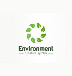 environment green leafs swirl creative symbol vector image
