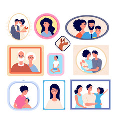 family photo frames wall portrait gallery vector image