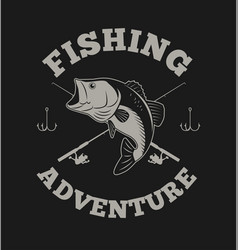 fishing adventure with bass fish and fishing rod vector image