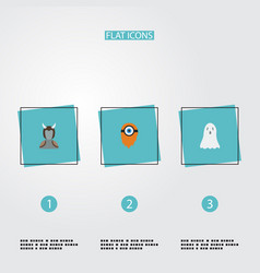 Flat icons halloween avatar fire and other vector