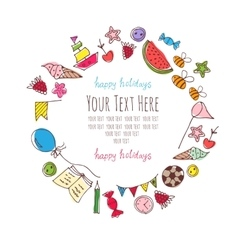frame for text with baby items vector image