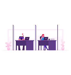 freelancer activity in coworking space characters vector image