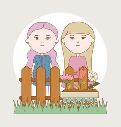 girls flowers in pot fence garden cartoon vector image
