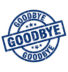 Goodbye blue round grunge stamp vector