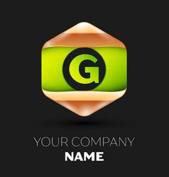 green letter g logo in golden-green hexagonal vector image