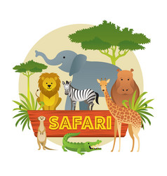 Group of african safari animals vector