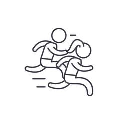 group run line icon concept group run vector image
