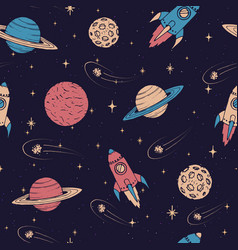 Hand drawn pattern with saturn mars planets vector