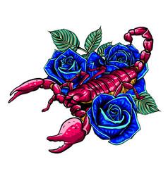 Hand drawn sketch scorpion tattoo animal vector
