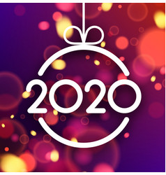 Happy new year 2020 card with colorful defocused vector