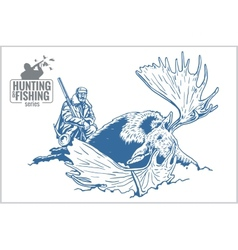 Hunter and elk - vintage vector image