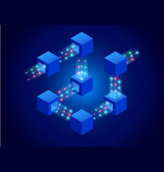 Isometric concept of quantum computers blockchain vector