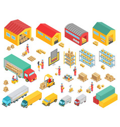 logistics isometric icons set with cargo trucks vector image