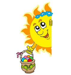 Lurking sun with easter eggs vector