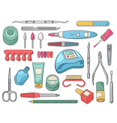 Manicure tools salon accessories and equipment vector