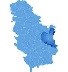 Map of Serbia Subdivision Zajecar District vector