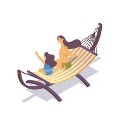 mother and daughter sitting on hammock vector image