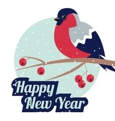 New year and merry christmas bullfinch vector