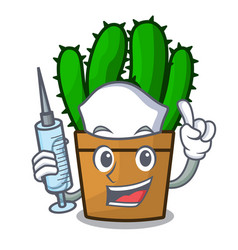 Nurse character spurge cactus home decor indoor vector