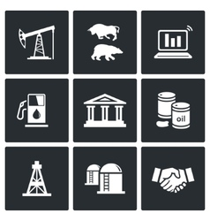 Oil and gas industry Icons Set vector