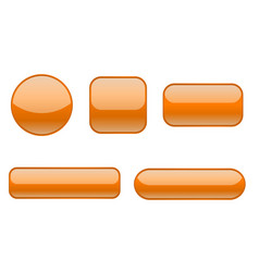 Orange buttons collection of matted shaped signs vector