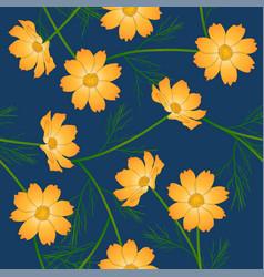 Orange yellow cosmos flower on indigo blue vector