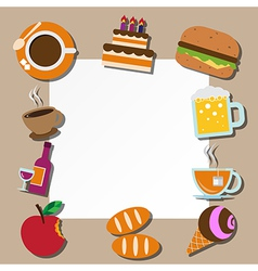 Paper note and food icons set vector image