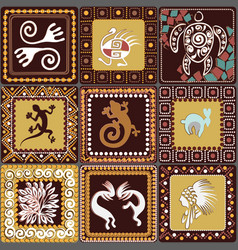 Pattern with imitation of elements of rock art vector