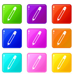 Pencil with eraser set 9 vector