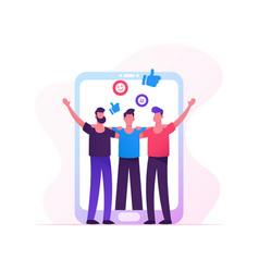 people meeting in internet men holding hands vector image