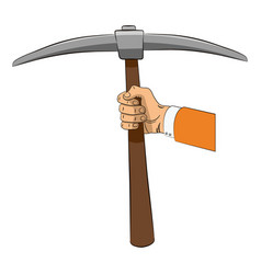pickaxe in hand vector image