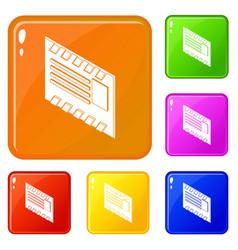 postal envelope icons set color vector image