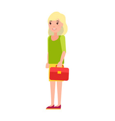 pretty schoolgirl red handbag first year student vector image